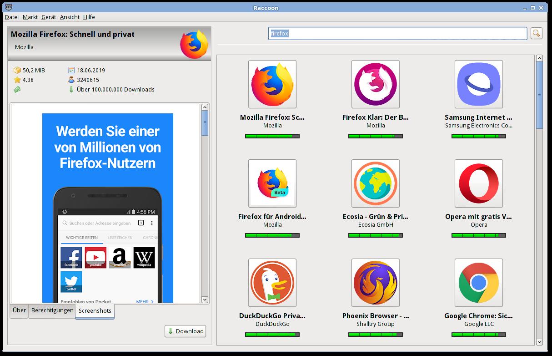 Screenshot: Google Play nach Mozilla Firefox durchsuchen.