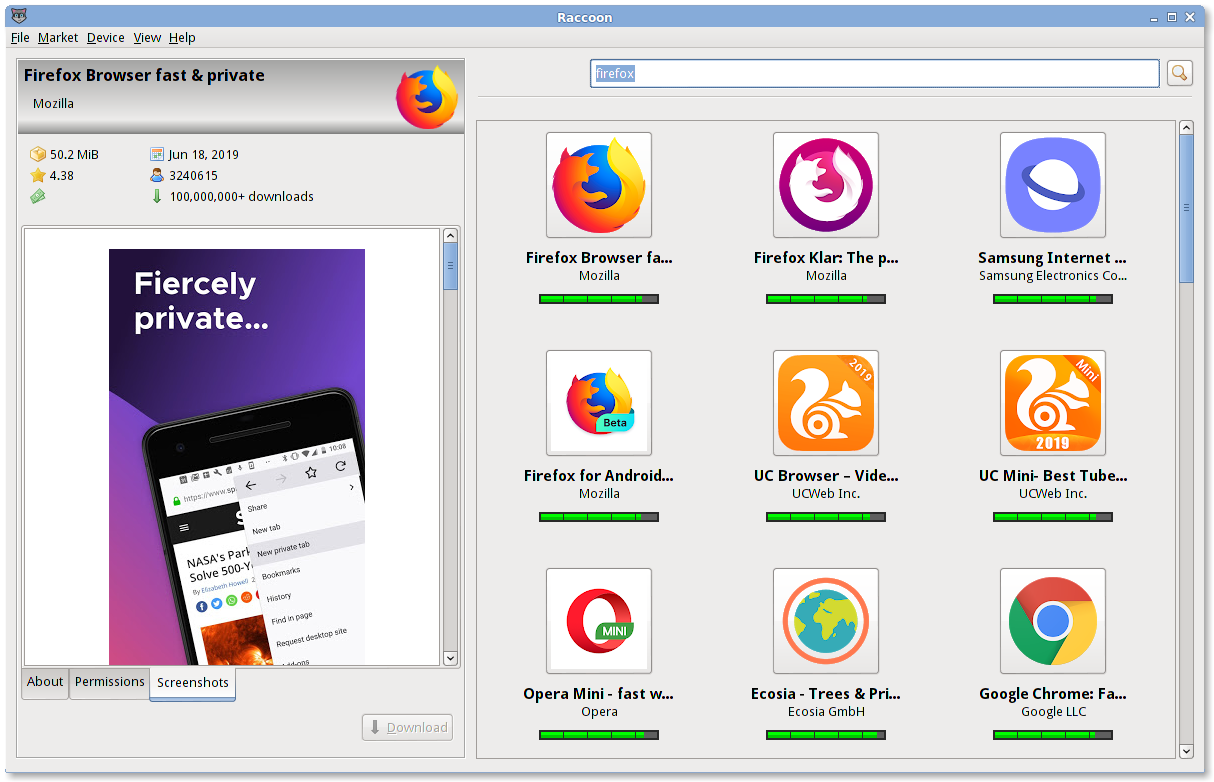 Screenshot: Browsing Google Play for Mozilla Firefox