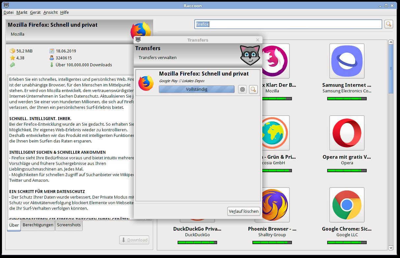 Screenshot: Mozilla Firefox für Android herunterladen.